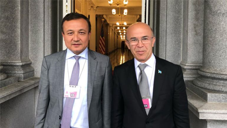 Dolkun Isa (L), the president of the Munich-based World Uyghur Congress (WUC) and Omer Kanat, chairman of the WUC Executive Committee, at the White House in Washington, Sept. 10, 2018. WUC.